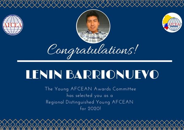 In November, Lenin Barrionuevo is named the Regional Distinguished Young AFCEAN.