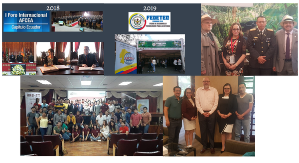 Over the years, chapter members participate in initial steps: First International Forum AFCEA Ecuador Chapter - 2018; Fair of Technological Development for Defense FEDETEC - 2019; First registered Women FEDETEC June 21, 2019; Manta - IEEE Technology Tour Branch; and Meeting 2019 with Sean McGowan.