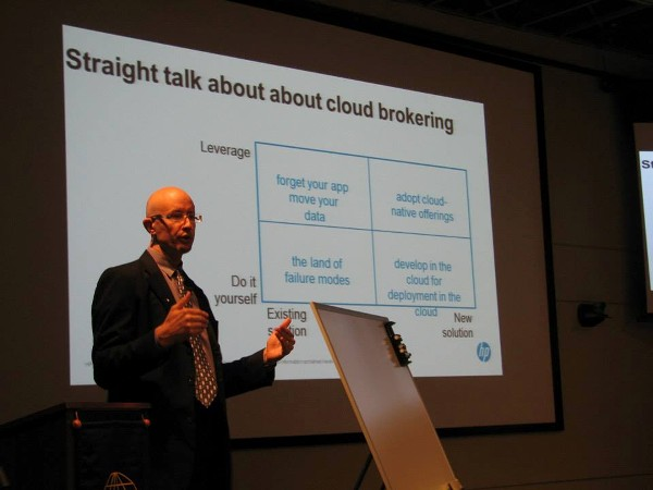 Michael Conlin, chief technologist, U.S. Public Sector, Hewlett-Packard Enterprise Services, discusses the challenges of the cloud at the chapter's July meeting.