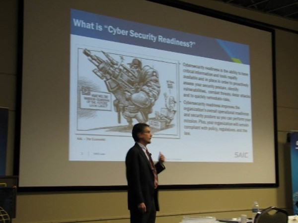 Charles Onstott, vice president and service line manager for SAIC�s cybersecurity, cloud computing and data science services, speaks to the chapter in September.