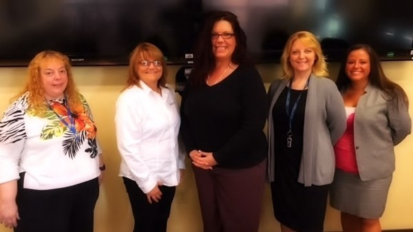 Attending the May lunch event are (l-r) Karen Barry, Kathy White,  Jeanette DeCamp, Angela Alexander-Mendoza and Jenifer Spencer.