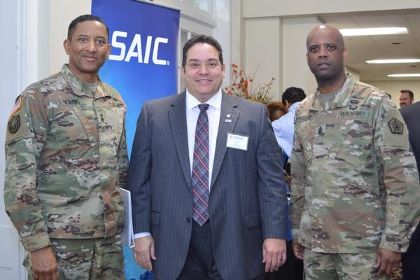 At the chapter's first general membership meeting of the year in March, keynote speaker Maj. Gen. Jason T. Evans, USA, commanding general, U.S. Army Human Resources Command (l), pauses for a photo with Chapter President Miguel Rivera (c) and Command Sgt. Maj. Wardell Jefferson, USA. Photo: Kathryn Thompson