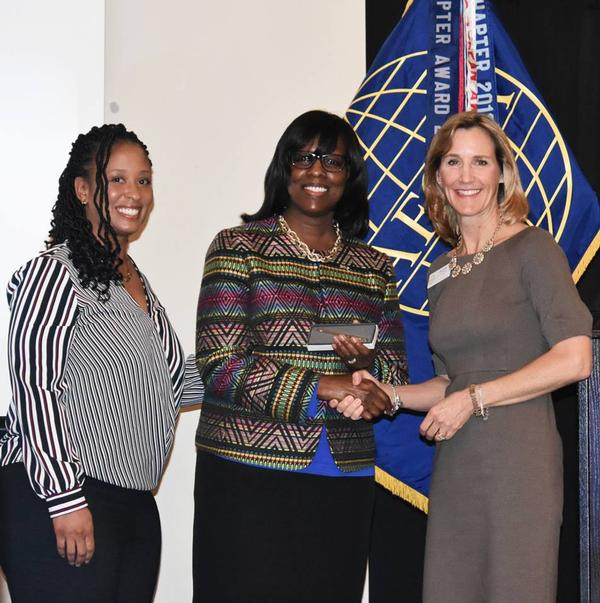 Kentucky Lt. Gov. Jenean Hampton, USAF (c), meets with Tina Jordan, vice president of region and chapter outreach, AFCEA International (r), and Kathryn Thompson, chapter vice president for Women in AFCEA, after Lt. Gov. Hampton's speech to the chapter in October.