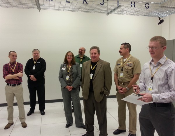 Several chapter members tour the CoSentry Data Center in March. Mark Howard (far r) served as the tour guide.