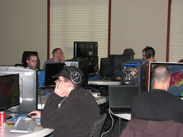 Participants gather in the gaming area for the chapter�s 4th Annual LAN Party in October.