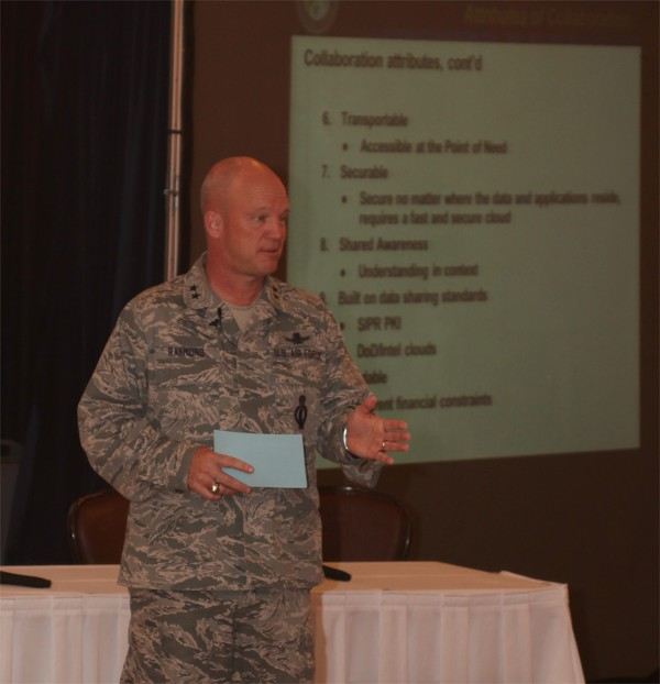 GREATER OMAHA�Maj. Gen. Raymond speaks at the Heartland TechNet luncheon in May.