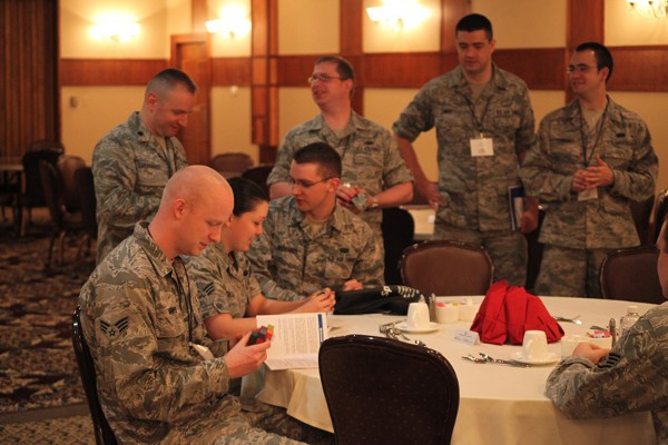 GREATER OMAHA—Members of the 55th Strategic Communication Squadron before the Heartland TechNet luncheon in May.