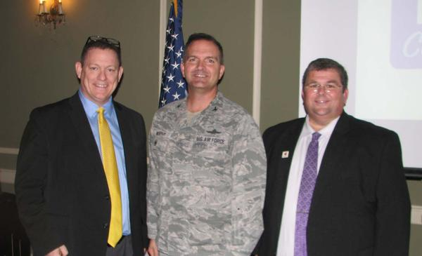 Attending the luncheon in October are (l-r) Garrett Sims, district partnerships facilitator, Bellevue Public Schools; Chapter President Col. Sean Murphy, USAF; and Dr. Robert Moore, assistant superintendent, Bellevue Public Schools. Both Sims and Moore received a Greater Omaha Chapter coin for addressing the chapter.