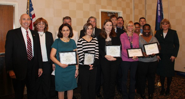 STEM Teaching Tools awardees recognized in November are (l-r) Walker, guest speaker; Mary Yager; Ann McGee, Greenbrier Middle School; David Lorenz, Grassfield High School and Governors STEM Academy; Jenna Filipowicz, Ocean Lakes High School; Louis Garland, John Yeates Middle School; Kelli Caras, John Yeates Middle School; Dr. James Barger, Landstown High School and Governors STEM and Technology Academy; Steve Kelley; Michele Baird, Granby High School; Tashiana Verna (accepting for Subhadra Desaraju), Norview High School; Kevin Pace, Virginia Beach Technical and Career Education Center; Demorrow Bond-Lee, Ghent School; and Duvall.