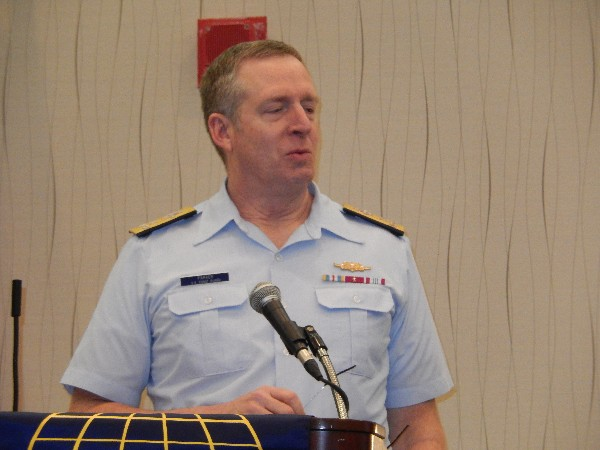 Vice Adm. Robert C. Parker, USCG, commander of the Coast Guard Atlantic Area, delivers a speech to the chapter in February.