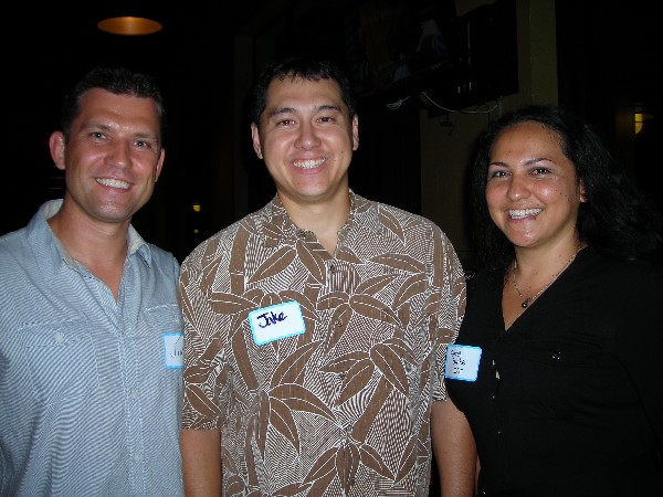 Together at the November Young AFCEAN social are (l-r) Jim Muller of HP, chapter vice president for membership; Tech. Sgt. Jake Ross, Hawaii Air National Guard; and Farrah Burke of IST, chapter secretary.