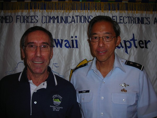 Jeff Bloom (l), chapter executive vice president, thanks the February luncheon speaker Maj. Gen. Darryll D.M. Wong, Hawaii Air National Guard, adjutant general, state of Hawaii.