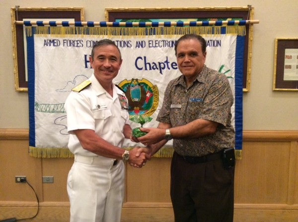 Adm. Harry B. Harris, USN (l), commander, United States Pacific Fleet, joins Cory Lindo, chapter president, at the March meeting.