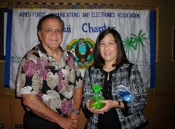 Cory Lindo, chapter president, joins February guest speaker Jodi Ito, information security officer at the University of Hawaii.