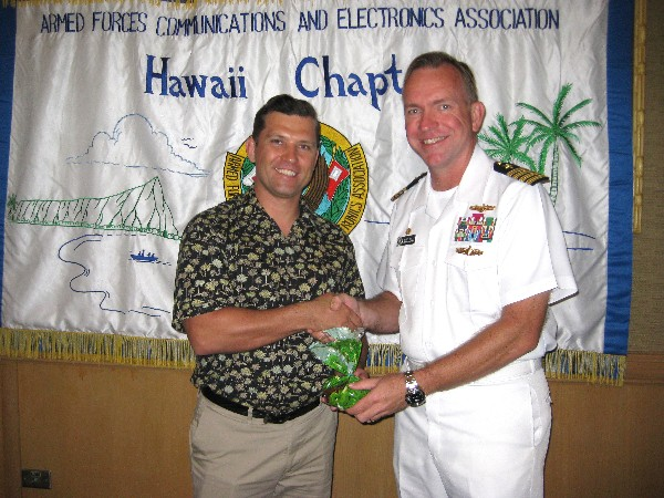 L-R Jim Muller, President; and speaker CAPT James Mills, Commanding Officer of NIOC Hawaii