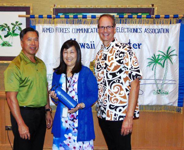 Attending the luncheon in August are (l-r) Barry Fong, chapter executive vice president; guest speaker Jody Ito, information security officer, University of Hawaii; and guest speaker Steve Auerbach, director, Pacific Center for Advanced Technology Training.