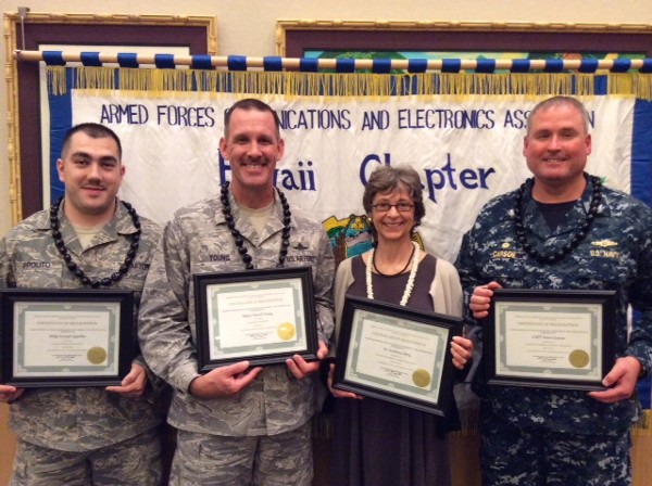 Award winners at the March meeting are (l-r) Young AFCEAN of the Month Master Sgt. Joseph Ippolito, USAF, noncommissioned officer in charge of the PACAF Cyber Fusion Center; AFCEAN of the Month Maj. David A. Young, USAF, Infrastructure and Mission Systems Branch chief, headquarters U.S. Pacific Air Forces; Senior Government Leader for February Dr. Kathleen Berg, director, Curriculum Research and Development Group, University of Hawaii; and Senior Government Leader of the Month for March Capt. Dave Carson, USN, commander, National Security Agency/Central Security Service Hawaii.