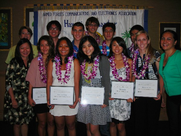 Chapter Educational Foundation executives and scholarship awardees together in August are (back row, l-r) Jane Ferriera, Andy Truong, Drew Ollice, William Blaser III, Herman Li and Keane Hamamura; (front row, l-r) Cathy Burtless, Kira Fox, Precious Binas, Christianne Izumigawa, Monica Ho, Sierra Jackson and Farrah Burke.