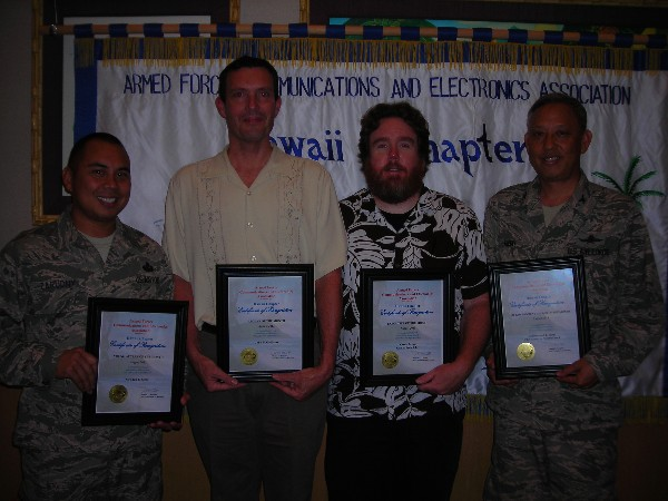 Award recipients and representatives in August are (l-r) Col. Reynold T. Hioki, USANG, Senior Government Leader of the Month; John Galliano, AFCEAN of the Month; Patrick Langton representing Executive of the Month Karen James; Master Sgt. Jason Zarudny, USAF, representing Young AFCEAN of the Month Stephen Sims.