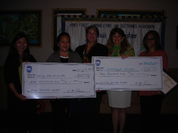 HAWAII—In July, the chapter presented several scholarships. Pictured (l-r) are: chapter Education Foundation Chairperson Cathy Burtless; teacher Kelsey Kai-Yamamoto, Waipahu High School, AFCEA International Educational Foundation STEM Teacher Scholarship awardee; chapter Education Foundation Director Jane Ferreira; Chapter Director Donna Russell; and teacher Euvelyn Calma, Nanakuli High School, The Donna Russell Distinguished Service STEM Teacher Scholarship awardee.