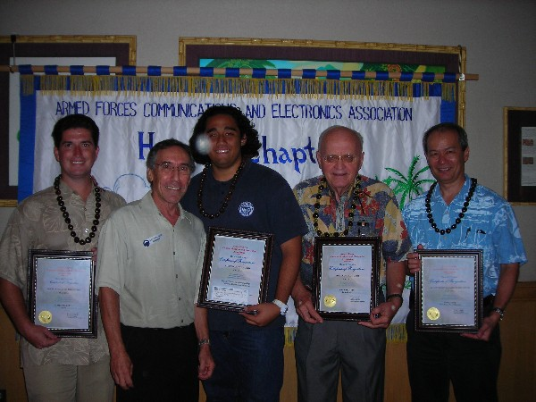In May, the chapter recognizes (l-r) James Elliot, Tribalco, Young AFCEAN of the Month; Bloom, chapter vice president; Elijah