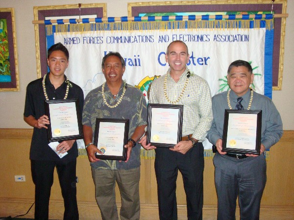 Chapter award winners recognized in March are (l-r) Nathaniel Ng, Student of the Month; Haven Apana, AFCEAN of the Month; Anthony K. Giandomenico, Executive of the Month; and Calvin Nomiyama, Senior Government Leader of the Month.