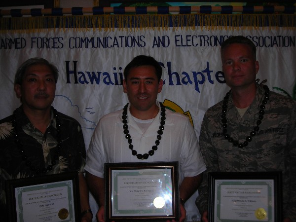 Award recipients together in January are (l-r) Craig Nagasawa, GDITs Intelligence Solutions Division, Executive of the Month; Maj. (Lt. Col. Select) Alejandro Rodriguez, USAF, AFCEAN of the Month; and Master Sgt. Donald Wildasin, USAF, Defense Information Systems Agency Pacific, Young AFCEAN of the Month.
