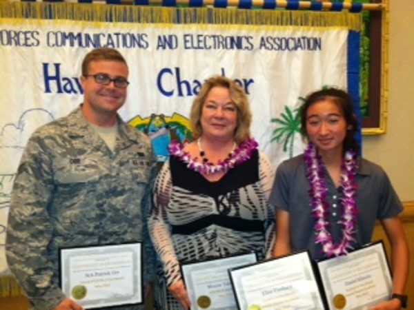 The chapter recognizes (l-r) Young AFCEAN of the Month Patrick Orr, USAF; AFCEAN of the Month Moune Tabalno, Verizon; and Student of the Month Elise Uyehara, Hawaii Baptist Academy, in May.