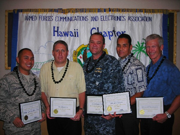 Award winners recognized in July include (l-r): Master Sgt. Jason Zarudny, USAF, Young AFCEAN of the Month; Fred Romero, EMC, Executive of the Month for June; Cmdr. James Knoll, USN, officer in charge, Space and Naval Warfare Systems Command Systems Activity Hawaii, Senior Government Leader of the Month; Joe Tablada, director of the Marine Corps Forces, Pacific Command Operations Center, Senior Government Leader of the Month; and Lt. Gen. Jeff Remington, USAF (Ret.), vice president, Government Programs and corporate lead executive, Northrop Grumman, Executive of the Month.