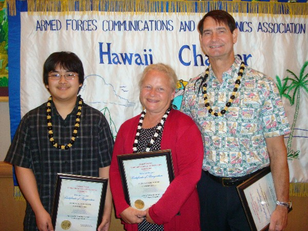 Award winners gathering in September are (l-r) Michael Takebayashi, Student of the Month; Anna Vitkauskas, AFCEAN of the Month, and Cieslak.