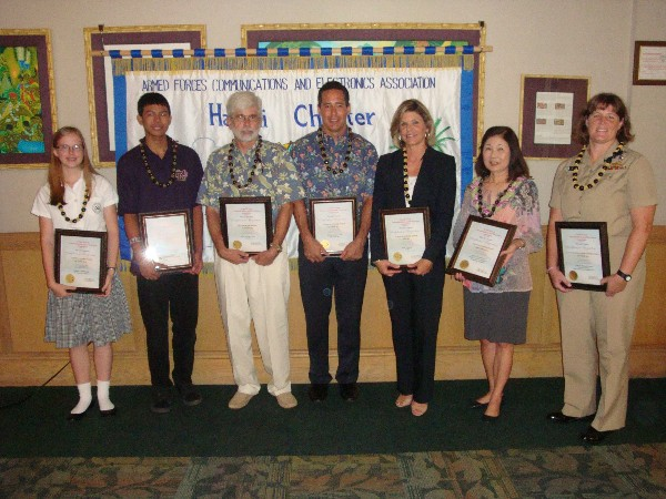 Award winners gathering in October are (l-r) Carolyn Morris, Kennedy Nabalta, Thomas Thornton, Steve Rodolfich, Kimberly Cortez, Beryl Morimoto and Cmdr. Ziemba.