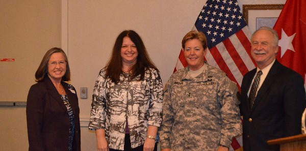 Gathered at the May luncheon are (l-r) Kathy Broad, Women in Defense president; Cindy Kurt, chapter secretary; Maj. Gen. Heidi V. Brown, USA; and Mike Schexnayder, chapter president.