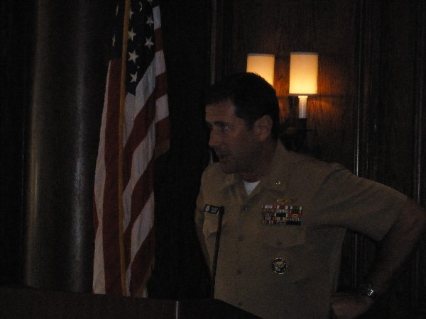 Cmdr. Halsey Keats, USN, chief of sensitive plans at the U.S. Central Command, addresses the chapter on counterterrorism at the January meeting.