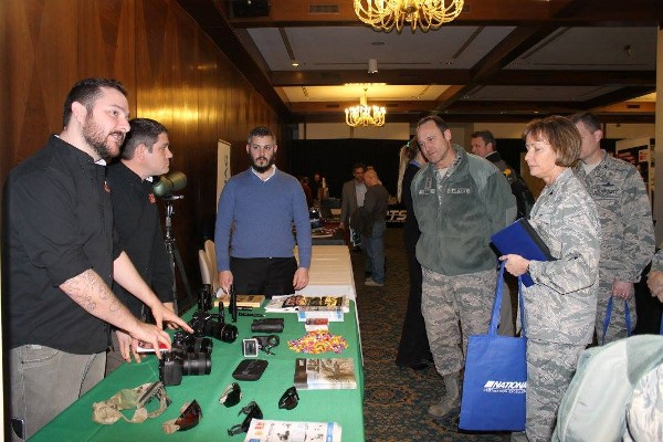 Ramstein Air Base distinguished visitors receive a demonstration at the Winter Technology Expo in February.