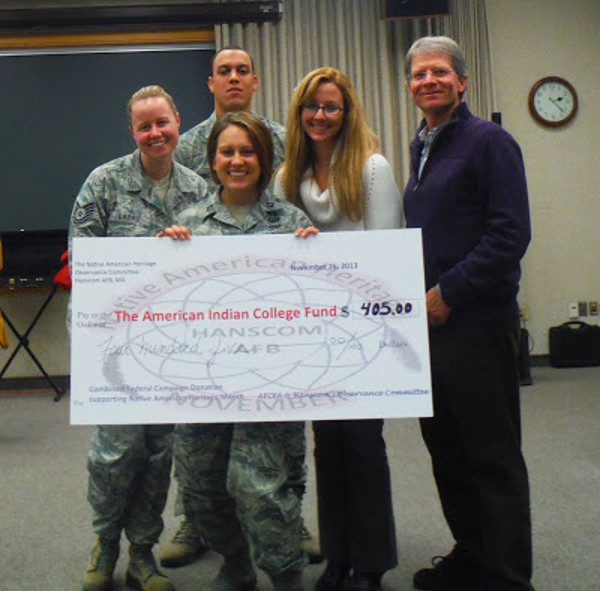 The chapter�s Diversity Committee helps raise funds for the American Indian College Fund in celebration of Native American Heritage Month in November, including (front row) Capt. Devon Messecar, USAF; (back row, l-r) Tech. Sgt. Jessica LaBrie, USAF; Senior Airman Zachary Young, USAF; Kimberly Matthews and Lance Beebe.