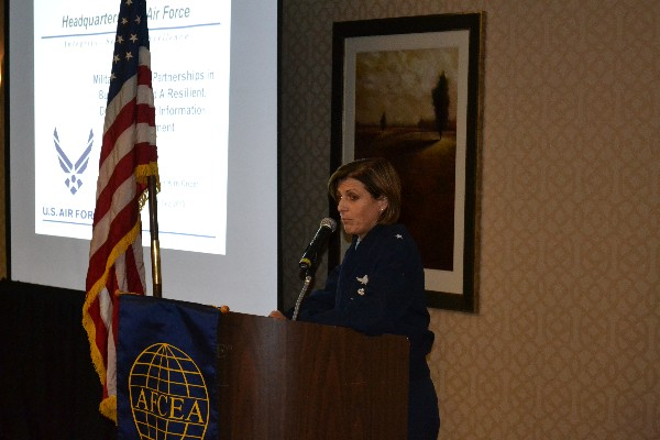 In December, the chapter hosts a breakfast with Brig. Gen. Kimberly Crider, USAF, mobilization assistant to the chief of information dominance and chief information officer, Pentagon, who spoke on the Joint Information Environment and its impact on the Air Force.