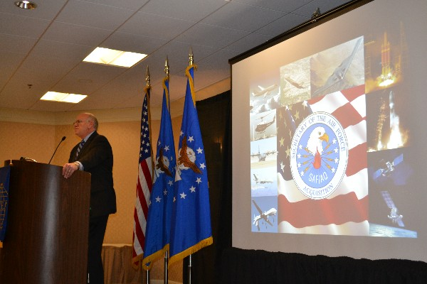 Richard Lombardi, principal deputy assistant secretary of the Air Force for acquisition, discusses Air force budget trends as the featured speaker at the May chapter breakfast.