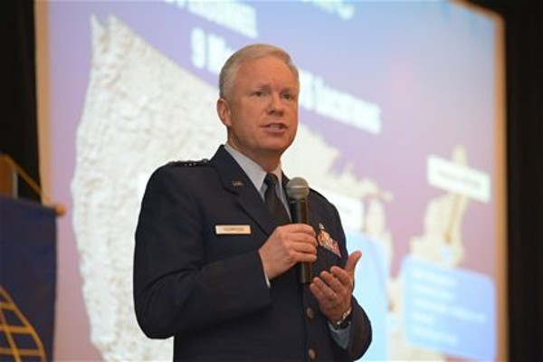 Lt. Gen. John F. Thompson, USAF, commander, Air Force Life Cycle Management Center (AFLCMC), discusses the state of AFLCMC at the annual chapter event in January.
