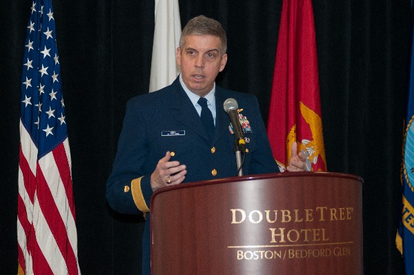 Rear Adm. Daniel Abel, USCG, commander, First Coast Guard District, addresses ROTC cadets at the chapter�s annual ROTC awards luncheon held in April.