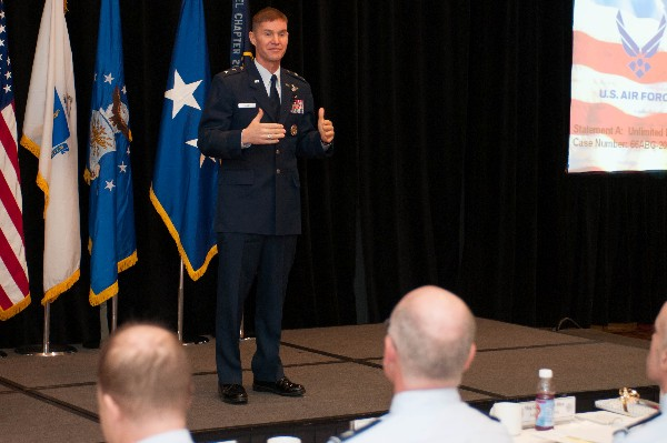 At the chapter's March symposium, Maj. Gen. Craig Olsen, USAF, program executive officer, Command, Control, Communication, Intelligence and Networks, Hanscom Air Force Base, presents his new business opportunities.