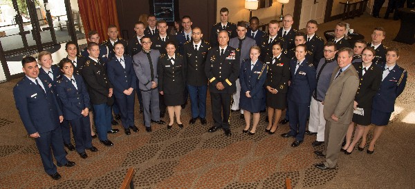 Col. Brooks (front row, far l), Gen. Hammond (front row, c) and Pat Dagle, Association of Old Crows, director of scholarships (front row, far r) join scholarship award recipients for a group photo at the annual ROTC STEM Scholarship Awards luncheon in April.
