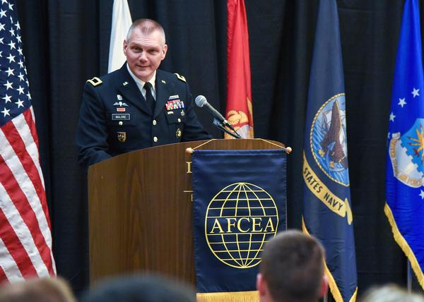 Keynote speaker Gen. Malone addresses ROTC scholarship recipients about career challenges at the annual ROTC awards luncheon in April.
