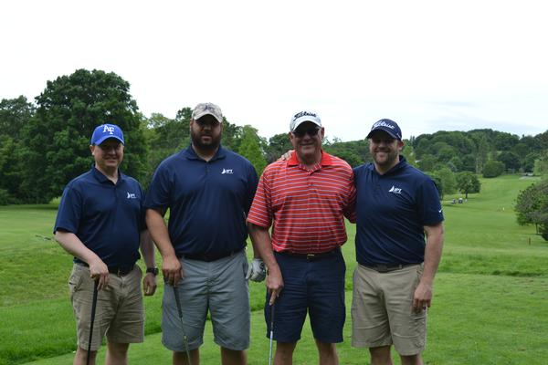 In June, first place winners, second flight (l-r), Josh Alimi, Kevin Loucks, Jeff Katz and Jon Katz, pose for group photo at the chapter's annual Elmer J. Fuller Golf Tournament.