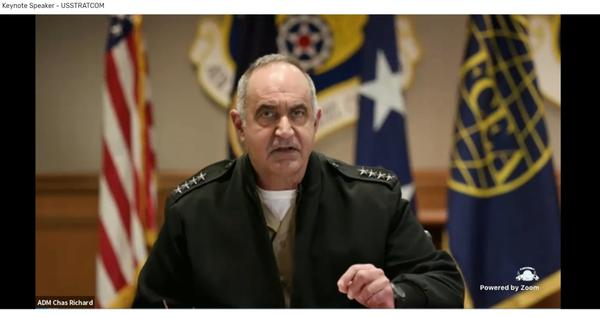 As keynote speaker, Adm. Chas Richard, USN, commander, U.S. Strategic Command, discusses his responsibilities for leading the Nuclear Command  and  Control (NC3) Enterprise during the New Horizons virtual Symposium in March.