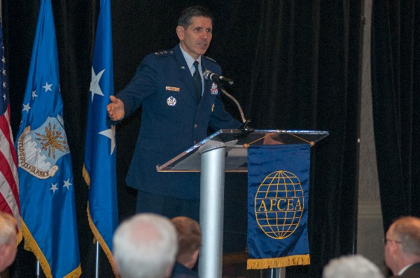 Lt. Gen. C.D. Moore II, USAF, commander, Air Force Life Cycle Management Center (AFLCMC), speaks at the first annual State of AFLCMC luncheon hosted by the chapter in February.