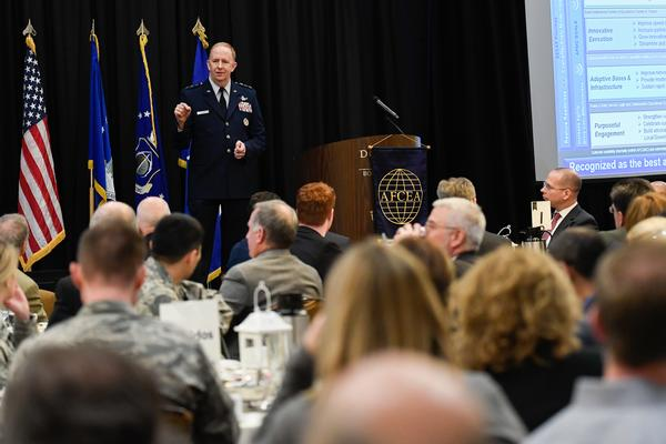 Gen. McMurry addresses a packed audience about his perspectives on the command at the chapter's annual State of AFLCMC Luncheon in January.