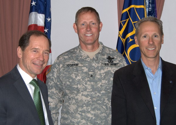Together at the April meeting are (l-r) Spencer Bauer, chapter president; guest speaker Brig. Gen. Timothy R. Coffin, USA, deputy commander, Joint Functional Component Command for Space; and Steve Staso, chapter vice president for communications.