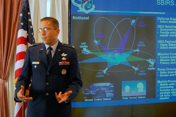 Col. Planeaux discusses the future of space-based infrared surveillance at the chapter�s luncheon in May.