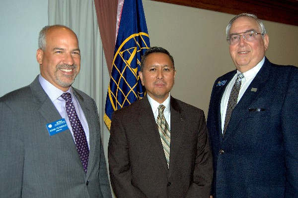 Adam Feingold, chapter vice president of programs (l) and Steve Quilici, chapter president (r) with May luncheon speaker Cordell DeLaPena, director, Program Management and Integration Directorate, Space and Missile Systems Center, Air Force Space Command, Los Angeles Air Force Base.