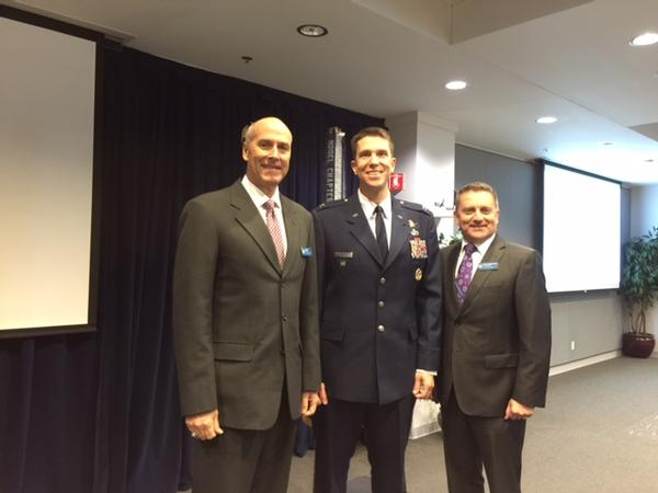 Attending the lunch meeting in November are (l-r) Bill Page, chapter president, guest speaker Col. Kevin Massie, USAF, director, Space Defense Task Force, Space and Missile Systems Center, and Scott Beidleman, vice president of programs.